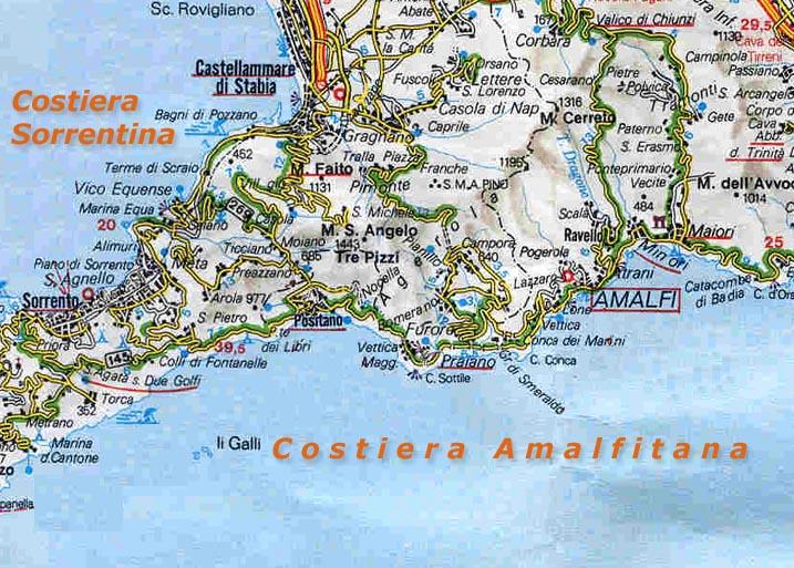 Tour Costiera Amalfitana Cartina.Costiera Amalfitana